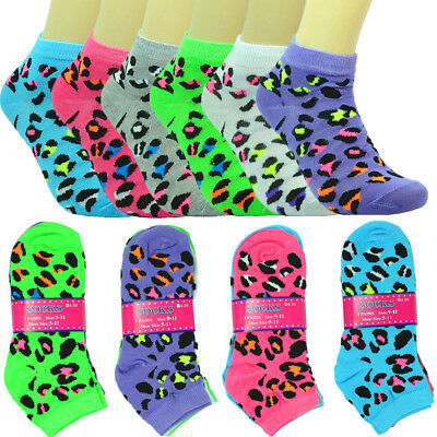 6-12 Pairs Fashion Cotton Women Girls Ankle School Casual Socks Size 9-11Leopard