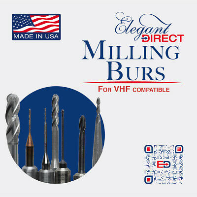 CAD CAM VHF Milling Burs 4 sizes avail for Zirconia & PMMA milling
