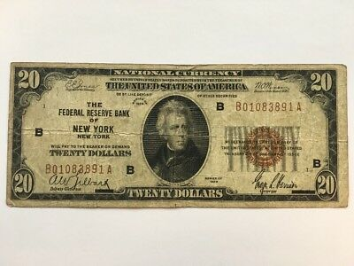 1929 $20 Twenty Dollar Bill National Currency Brown Seal Note - New York, NY