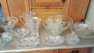 Anchor Hocking Star of David Pattern Crystal Set, collection, vintage, pristine!
