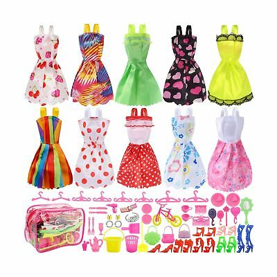 Total 66pcs - 10 Pack Clothes Party Gown Outfits for barbie dolls+ 55pcs Doll...
