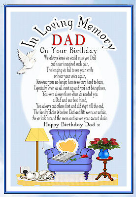 Dad Birthday Memorial  Rememberance  Graveside Keepsake  Card & Free Holder