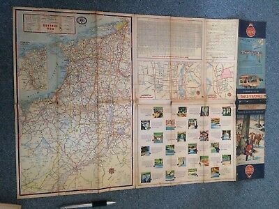 Vintage Ephemera Calso Road Map New Hampshire Vermont 1952 History Chevron