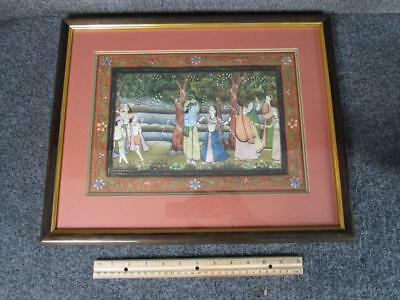 ANTIQUE  INDIAN HINDU ROYAL MARRIAGE or DIETY GOUACHE PAINTING