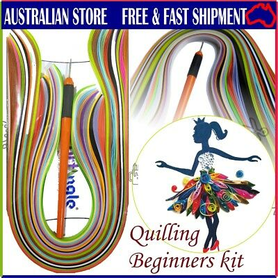200 x 5mm assorted  Quilling paper strips + tool. It's a  Beginners/Starters kit