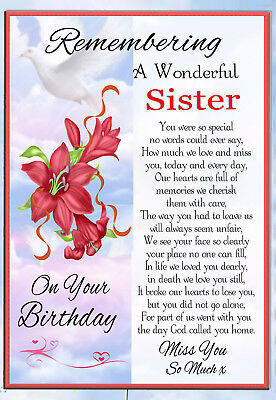 Sister  Birthday Memorial Bereavement Keepsake Graveside Card & Free Holder 1