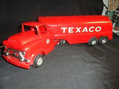Vintage Buddy L Texaco Tanker Gasoline Oil Company Truck Metal Toy