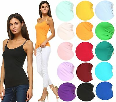 Anna Women's Camis Tank Top Stretch Camisole Solid Colors Spaghetti Strap