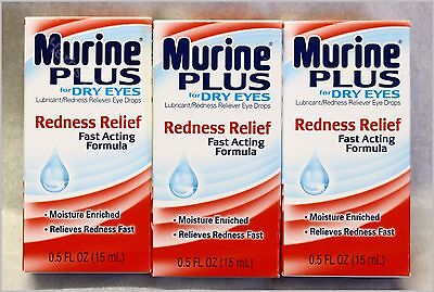 3X Murine Plus Eye Drops Redness Relief For Dry Eyes New Sealed Free Shipping