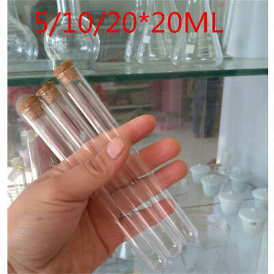 5/10/20xPlastic Test Tubes With Cork Stopper 20ML Volume Party Wedding Candy PQ