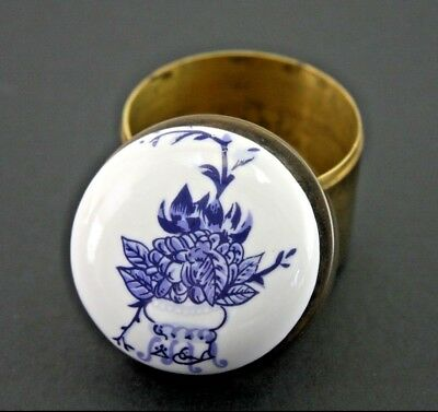 """Vintage 2 1/8"""" Ceramic And Brass Small Hand Painted Jewelry Box"""