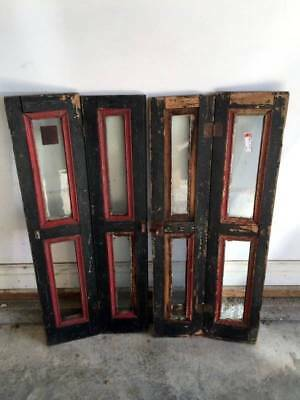Antique Glass & Wood Shabby Cabinet Doors Chic Decor