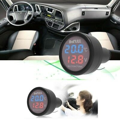 3in1 12V/24V Car Auto LED Digital Thermometer USB Charger Cigarette Voltmeter