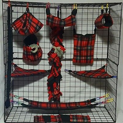 Tonal Red Plaid  *15 PC Sugar Glider Cage set * Rat * double layer Fleece