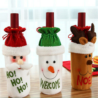 Christmas Santa Claus Red Wine Bottle Cover Bags Champagne Xmas Gift Table Decor