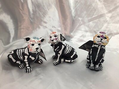 Halloween Day Of The Dead Candy Skull Set Dogs Cat Skeleton Figurines Prop Decor