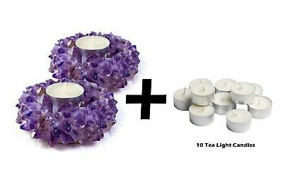 2x Tea Light Candle Holder Decor Crystal Amethyst Healing Reiki TeaLight Wedding