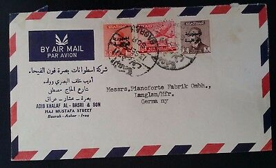 RARE 1955 Iraq Airmail Cover ties 3 stamps canc Basrah to Germany