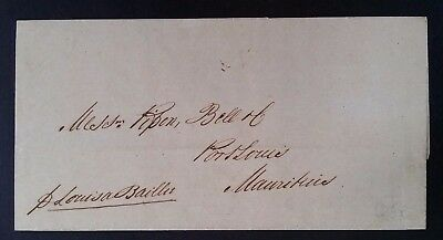 RARE 1848 India Folded Letter from Calcutta to Port Louis Mauritius