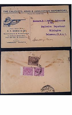 RARE 1933 India Calcutta Arms & Munition Postcard ties 3 stamps to USA