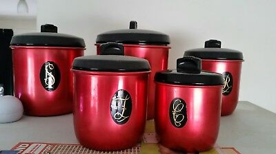 canister set of 5 anodised red retro vintage 70's by Jason