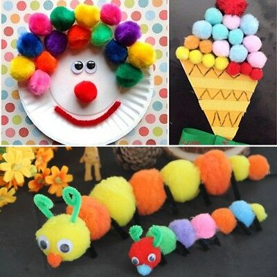 200Pcs Assorted Colors Craft Pom Poms Creative Making Hobby Supply DIY Tools New