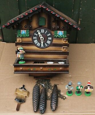 Very Nice Looking Large Working Musical Cuckoo Clock With 3 Weights To Restore