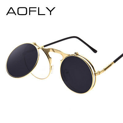 Round Sunglasses Steampunk Retro Vintage Lens Flip Up Cool Gold Glasses Style
