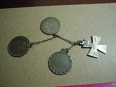 Small Chain W/ 3 Attached Love Tokens And Handmade Silver Cross Bouquetofflower