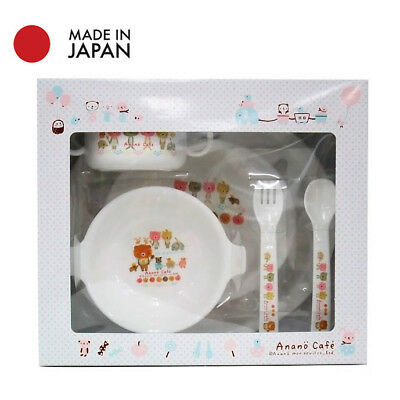 Japanese Kid Toddler Meal Plate/Bowl/Spoon/Fork/ 6 Pieces Set Anmials Anano Cafe
