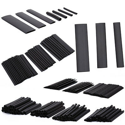 127Pcs Glue Weatherproof Heat Shrink Sleeving Tubing Tube Assortment Kit Black