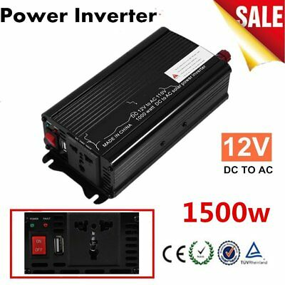3000W Peak DC12V to AC 110V Solar Power Inverter Converter USB Output Stable O9