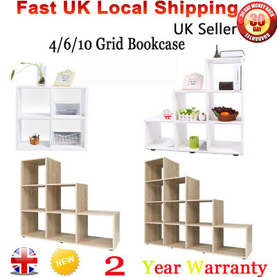 Wooden Storage Unit Cube 4/6/10Tier Strong Bookcase Shelving Home Office Display