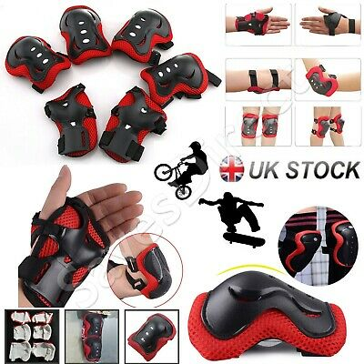 Kids Elbow Knee Wrist Protective Pads Red Guard Protection Scooter Bike Sports