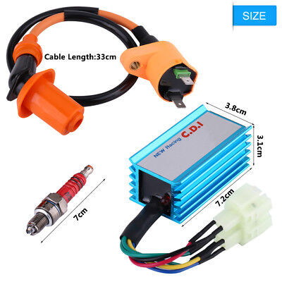 Ignition Coil+Spark Plug+Wire 6 Pin AC CDI For GY6 50CC 125CC 150CC ATV Scooter