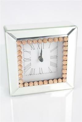 Contemporary Square Mantel Bedroom Clock Analogue Mirrored Finish (WT15059) New