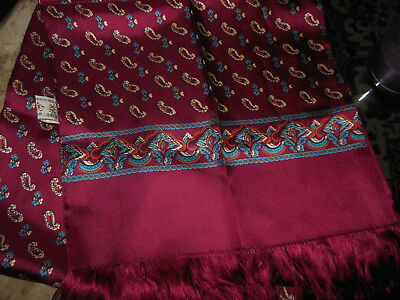 "ZHENSI Mens 100% Silk Scarf Burgundy red w multi color pattern 46"" long NEW"