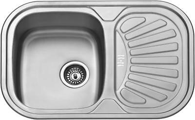 Small 1.0 Bowl Inset Compact Kitchen Sink Drainer Polished Stainless Steel 881