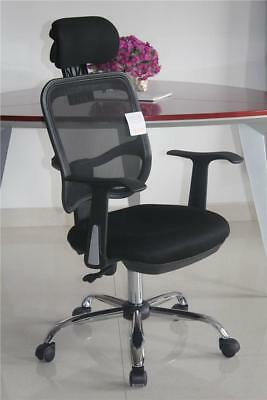 Designer Mesh Chrome Adjustable Executive Office Computer Desk Chair Seat Fabric