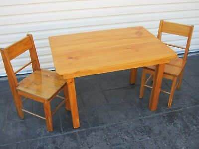 Children's Kid's Table and 2 Chairs Wood Timber Freshly re-painted ExcellntCond.