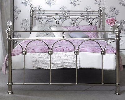 Silver Chrome Solid Metal Bed Frame 4FT6 Double, Crystal, French Shabby Chic NEW