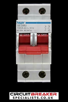 Hager 100 Amp Double Pole Main Switch Disconnector Sb299U