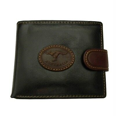 Australian Souvenir Mens Brown Leather Wallet with Oval Stitched Kangaroo Badge