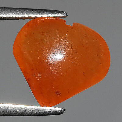 6.30 Ct Untreated Antique Burma Orange Natural Jadeite Heart Loose Gemstones