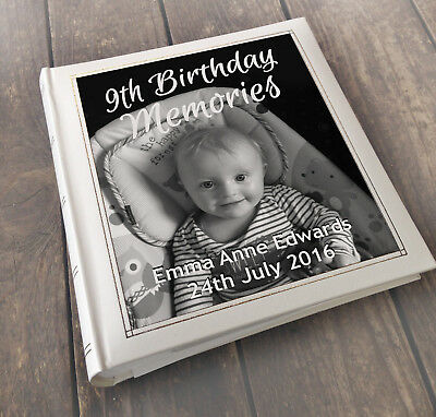 Personalised large photo album, memory book, 3 colour choice, 9th birthday gift