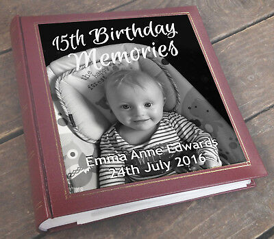 Personalised large photo album, memory book, 3 colour choice, 15th birthday gift
