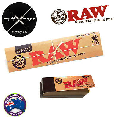 Raw Classic King Size Slim Rolling Papers + Raw Tips - Smoking Tobacco