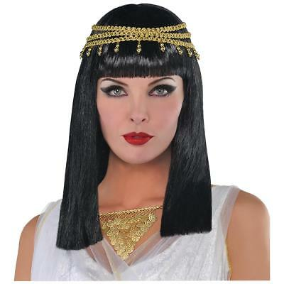 FANCY DRESS Womens Adults Black Ancient Egyptian Queen Wig