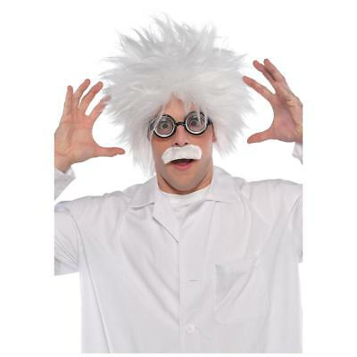FANCY DRESS Mens Adults White Wig, Moustache and Glasses Mad Scientist Costum...