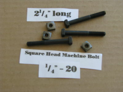 """Antique 1/4' -20 X 2 1/4""""  Square Head Bolts with Nuts  NOS LOT of 10"""